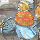 Detail of mural for Two Fat Ladies Restaurant
